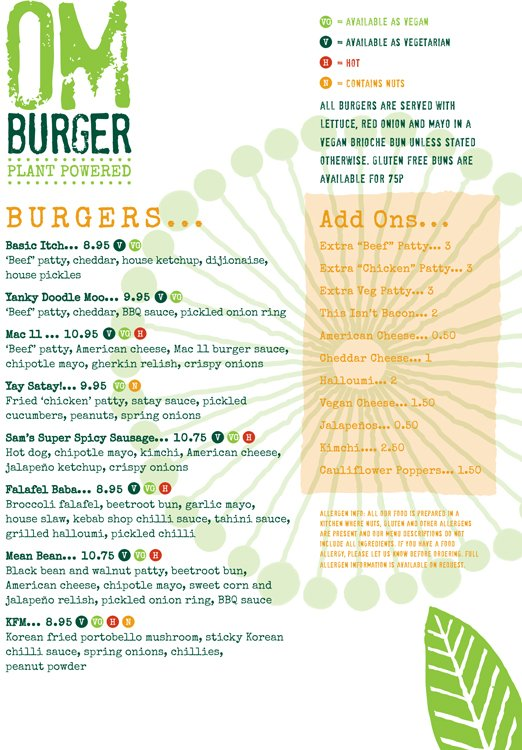 Om Burger Main Menu Page 1