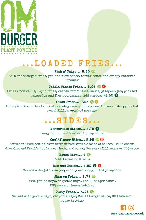 Om Burger Main Menu Page 2