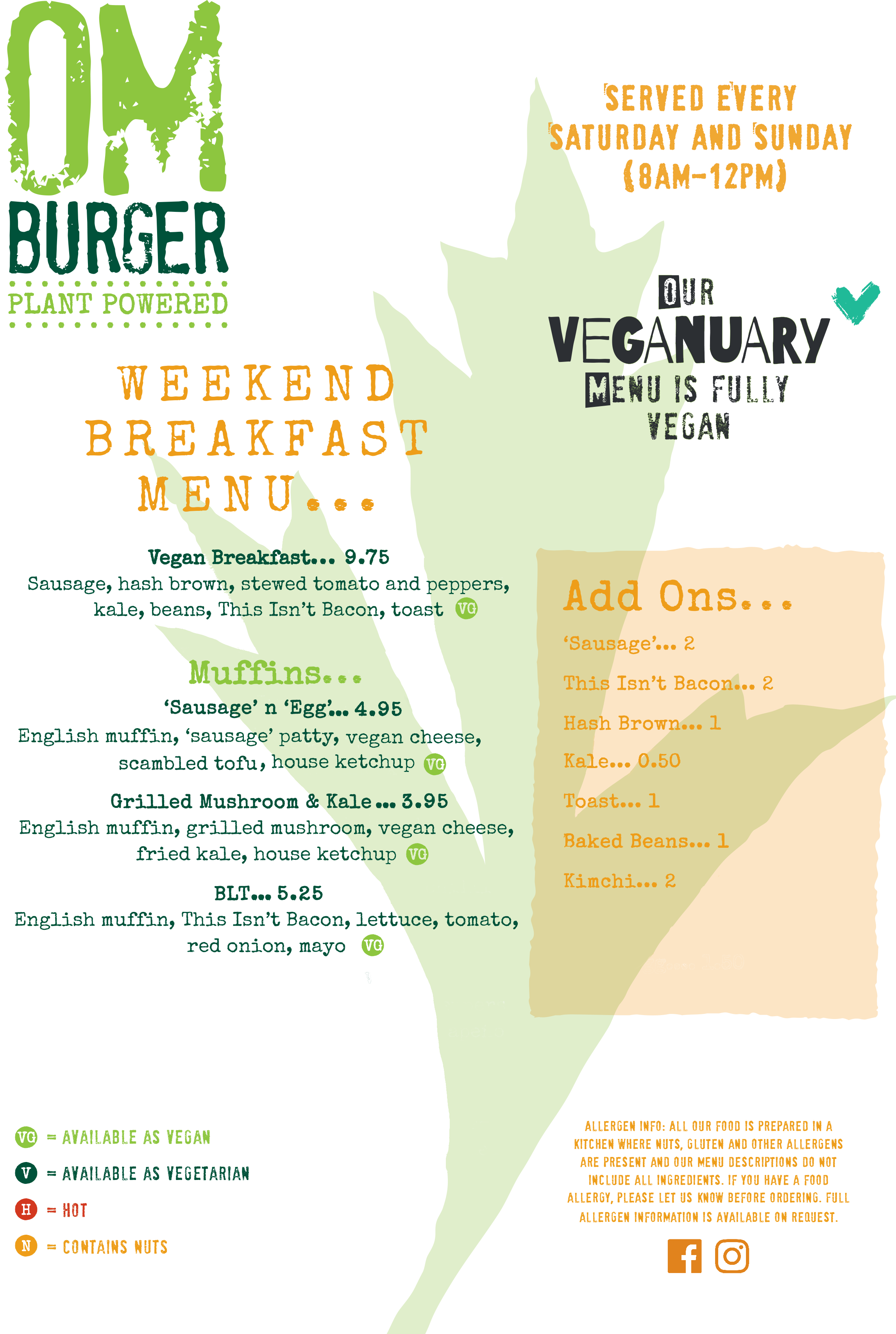 Veganuary 2021 Breakfast Menu @ Om Burger Bristol