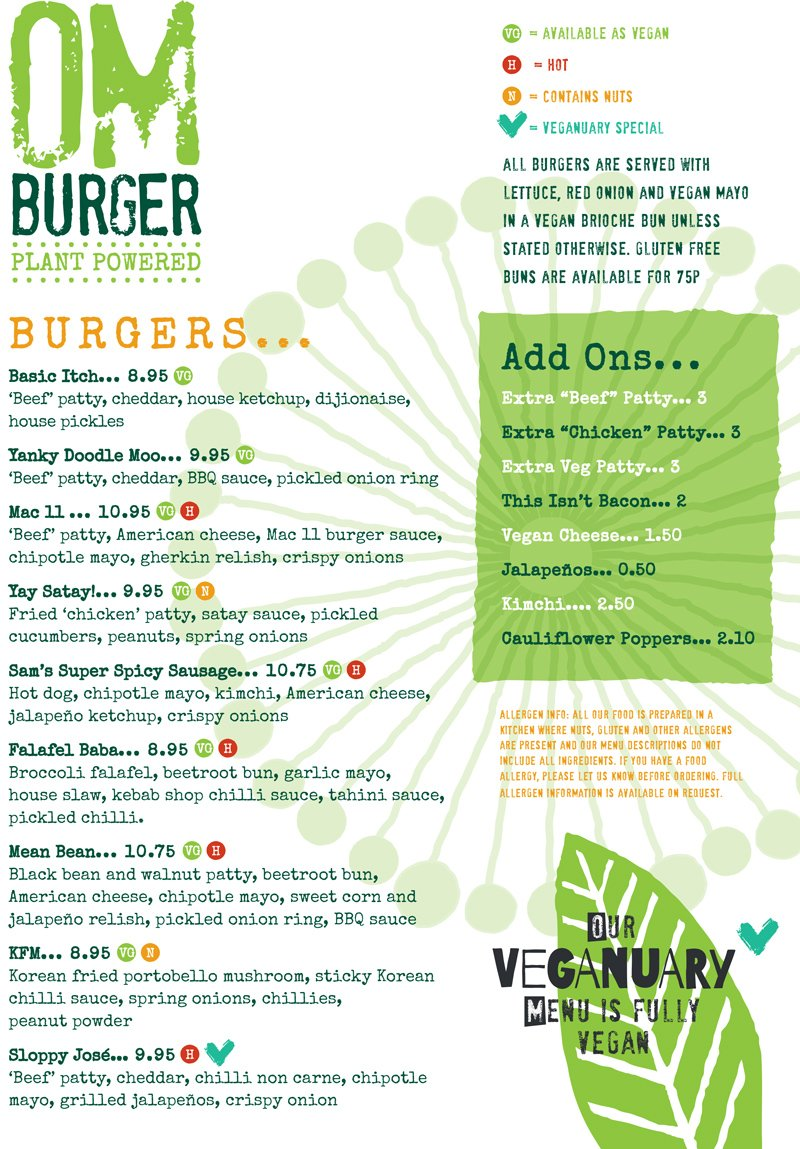 Veganuary 2021 Main Menu - Page 1 @ Om Burger Bristol